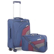 """Aerolite 21"""" Carry On Ultra Lightweight Spinner Suitcase & Flight Bag Under Seat Shoulder Bag Set (Navy)"""