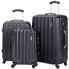 Goplus 3 Pcs Luggage Set ABS Hardshell Travel Bag Trolley Suitcase w/ TSA Lock (Black) ¡