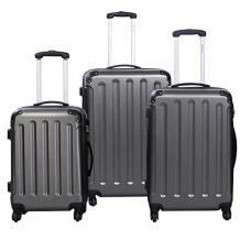 Goplus 3 Pcs Luggage Set Hardside Travel Rolling Suitcase ABS+PC Globalway (Gray)