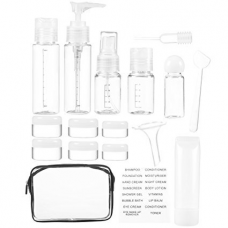 16 Pack Plastic Airline Travel Accessories Bottles Set - Holds Toiletries, Lotions, Liquids, Shampoos - Includes Spray Bottles, Pump Bottles, Squeeze Bottles, Jars, Insertion Tools & Travel Bag