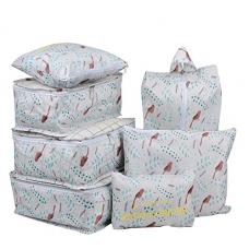 7 Set Travel Packing Organizer,Waterproof Mesh Durable Luggage Travel Cubes,1 Shoe Bag (Grey Forest)