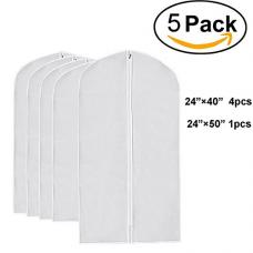 Wallaby Pack of 5 PEVA Garment Bag, Full Zipper Suit Bag , Light Weight, 4 Medium and 1 Large