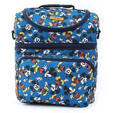 Disney Mickey Minnie Mouse Dancing Pattern Cooler Crossbody Bag Lunch Tote Bag with Front Pocket, Upper Pockets, Adjustable Shoulder Strap, Handle Strap (Blue)