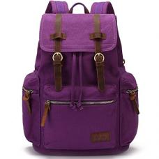 BLUBOON Canvas Vintage Backpack Leather Casual Bookbag Men Rucksack (Purple)