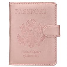 GDTK Leather Passport Holder Cover Case RFID Blocking Travel Wallet (Rose Gold #2)