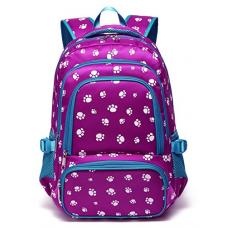 Fashion Girls Backpacks for Kids Elementary School Bag Girly Bookbag Children 17 Inch Nylon Paw Print (Purple&Blue)