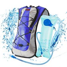 LYCAON 2L Hydration Backpack (BPA Free), 600D Waterproof Fabric, Lightweight Water Back Pack Hiking Cycling Biking Running Camping Bladder Backpacks for Kids Women Men ( Blue )